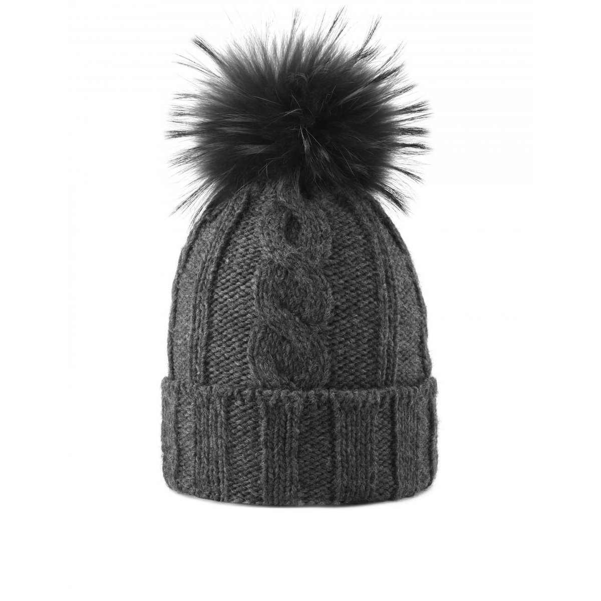 61e46270294 Hat in alpaca with real fur pom - Hats & Scarves Canadian Women