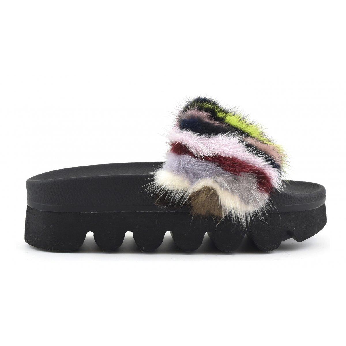 real fur slippers slides flip flops colors of california women