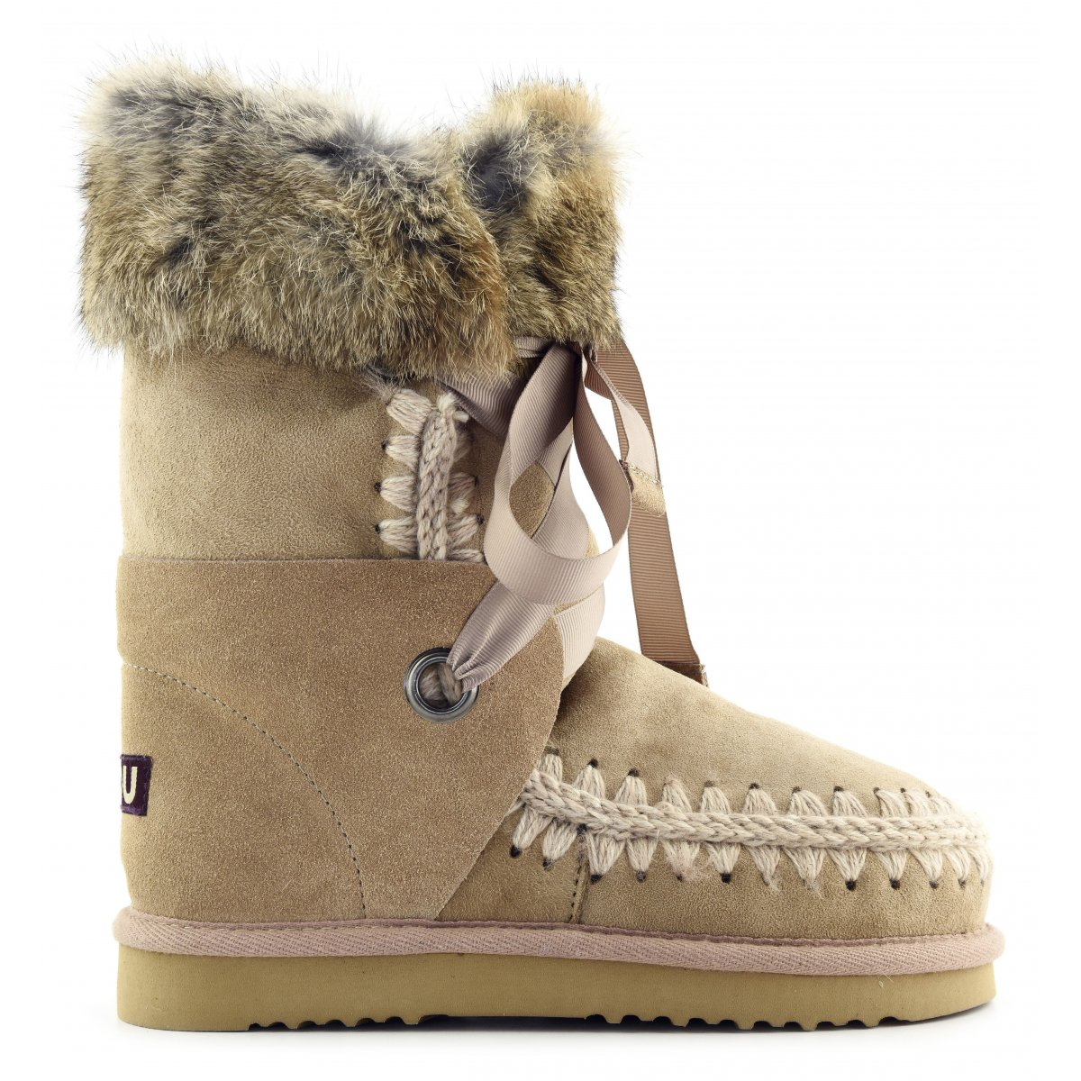 eskimo lace and fur ankle boots mou women fall winter