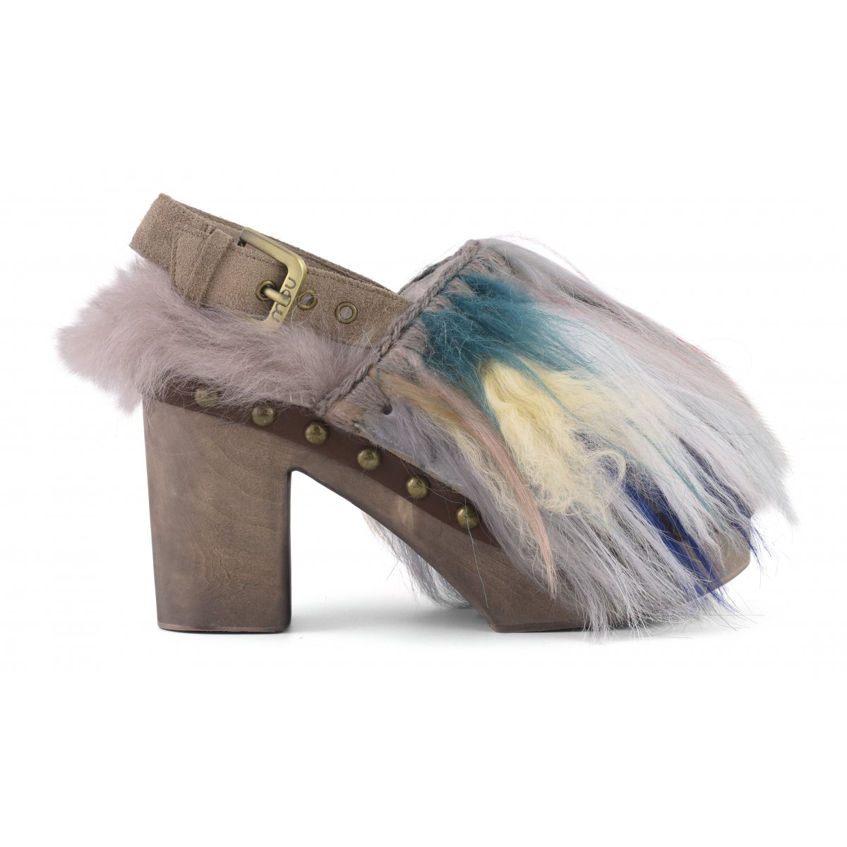 7f3fab1004056 high heel wood clog mixed fur - wood clog mou women fall winter