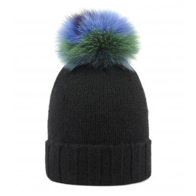 Cappello pom volpe multicolor