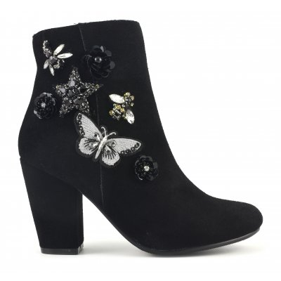 Heel bootie in suede with acce