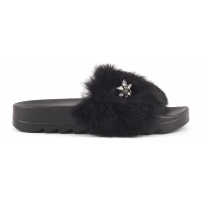 Fur Slippers with Star Patch