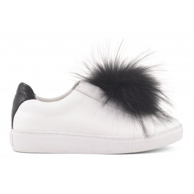 Leather upper with fur poms