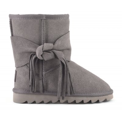 Mid suede snow boot with bow