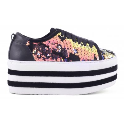 high sole sneaker in sequins
