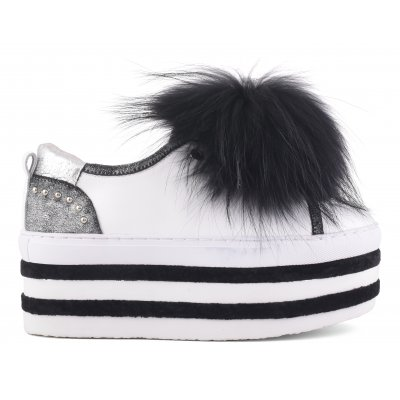 high sole sneaker with pom