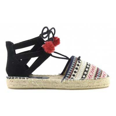 Espadrille in leather with pom