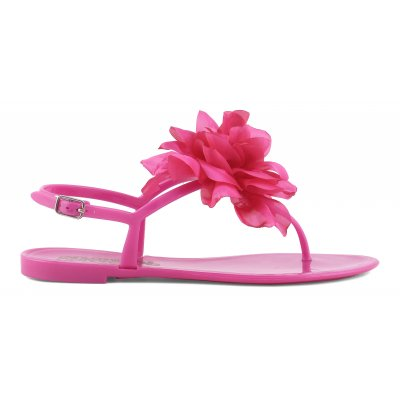 Jelly sandal with maxi flower patch