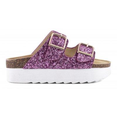 High sole Bio sandals in glitter
