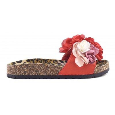 Sandali bio con applicazioni floreali e sottopiede maculato