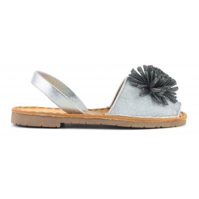 Sandali minorca in glitter con pom