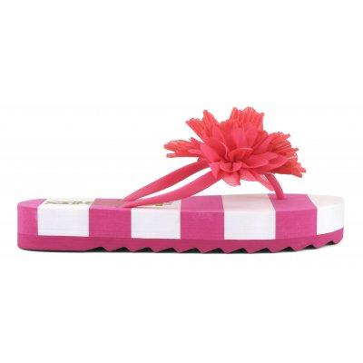 Flip flops suola platform a righe con applicazioni floreali