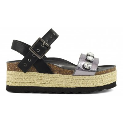 Bio sandals with jewel accessories and a corded platform sole