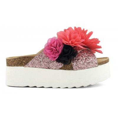 Sandali bio in glitter con applicazioni floreali e suola platform