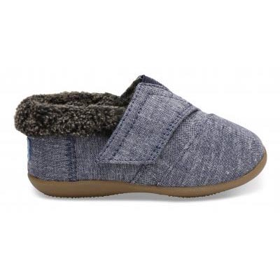 Navy Chambray Tiny TOMS Slippers