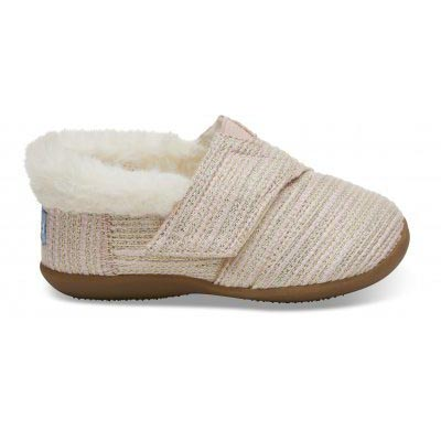 Natural Metallic Burlap Tiny TOMS Slippers