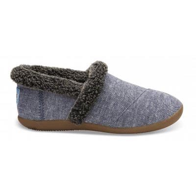 Navy Chambray Youth Slippers