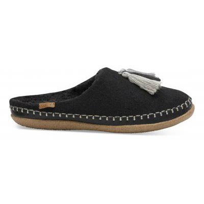 Black Wool Tassels Slipper Women
