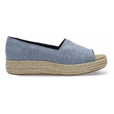 Blue Slub Chambray Open Toe Women