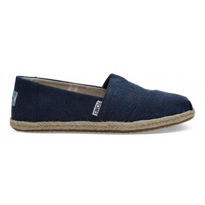Navy Washed Canvas Rope Alpargata Women