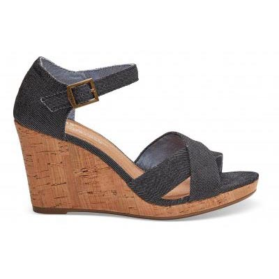 Black Denim Wedge Women