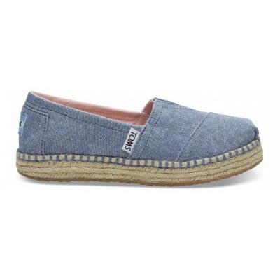 Blue Slub Chambray Platform Alpargata Youth