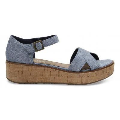 Blue Slub Chambray Wedge Women