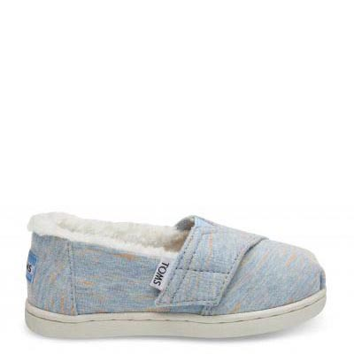 Alaskan Blue Heather Jersey Faux Shearling Tiny TOMS Classics