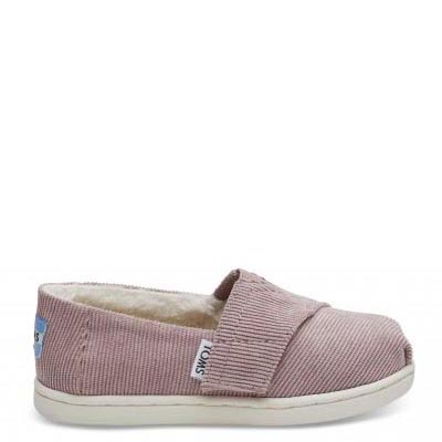 Faded Rose Corduroy Faux Shearling Tiny TOMS Classics