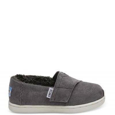 Steel Grey Courduroy Faux Shearling Tiny TOMS Classics