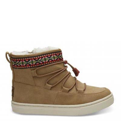 Toffee Synthetic Suede Tiny TOMS Alpine Boots