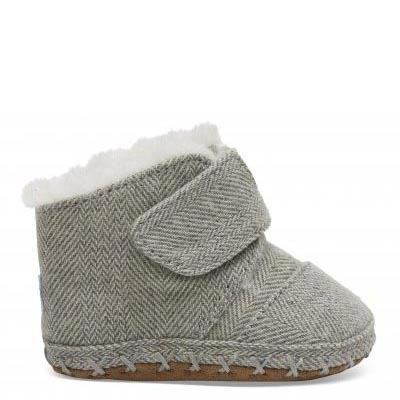 Drizzle Grey Herringbone Tiny TOMS Cunas