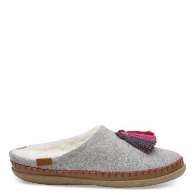 Drizzle Grey Wool Slipper Women