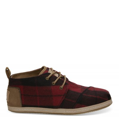 Red Plaid Felt Botas W