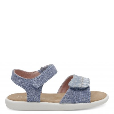 Blue Slub Chambray Strappy Sandal T
