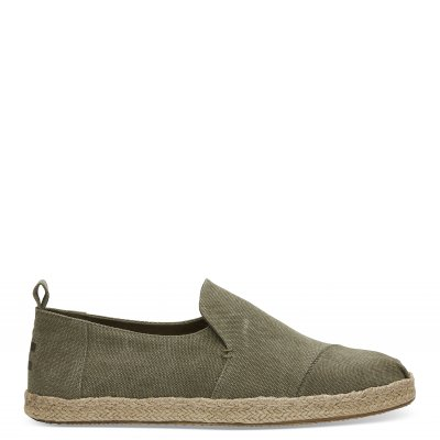 Olive Washed Canvas Deconstructed Alpargata M