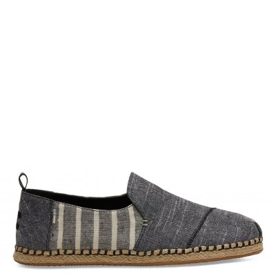 Black Chambray/Cabana Strip Deconstructed Rope Alpargata M