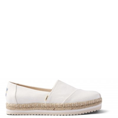 White Canvas Platform Alpargata W
