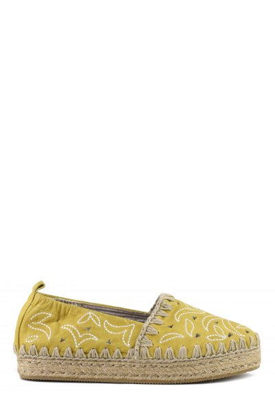 espadrilles perforated vintage leather&embroidery